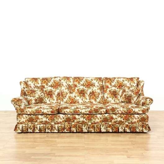 Vintage Orange Floral Sofa Loveseat Vintage Furniture