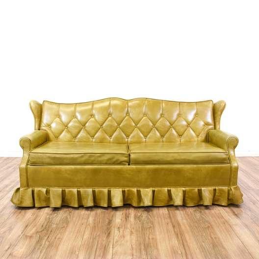 Gold Vinyl Tufted Sleeper Sofa Bed Loveseat Vintage