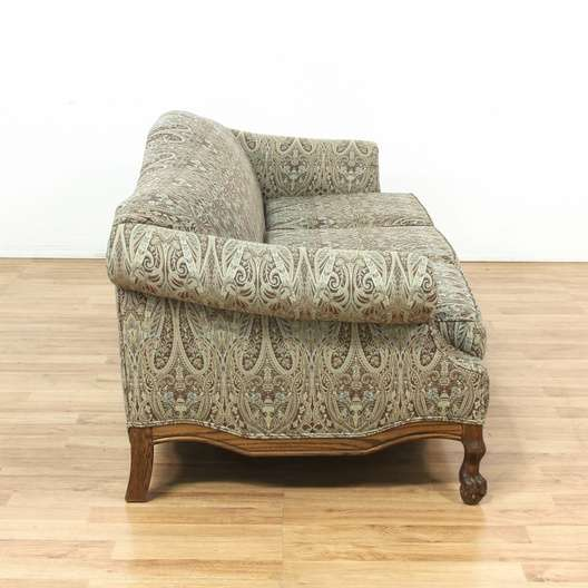 Terrific Oak Frame Paisley Print Upholstered Sofa Couch Loveseat Gmtry Best Dining Table And Chair Ideas Images Gmtryco