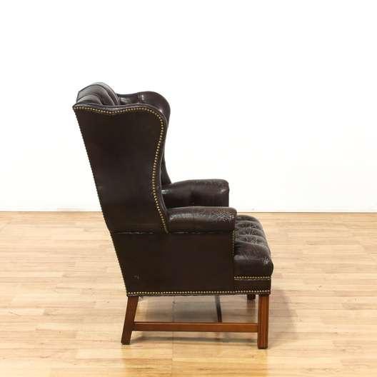 Surprising Schafer Bros Tufted Leather Wingback Armchair Loveseat Machost Co Dining Chair Design Ideas Machostcouk