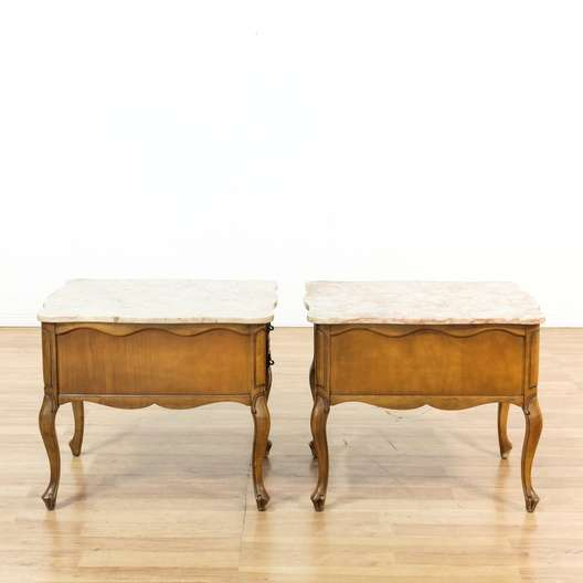 Pair Of Quot Hammary Quot Pink Marble Top End Tables Loveseat