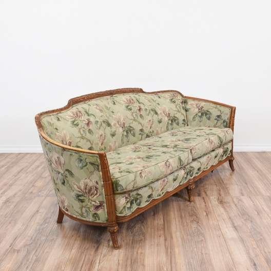 Carved Wood Trim Green Floral Print Sofa Loveseat