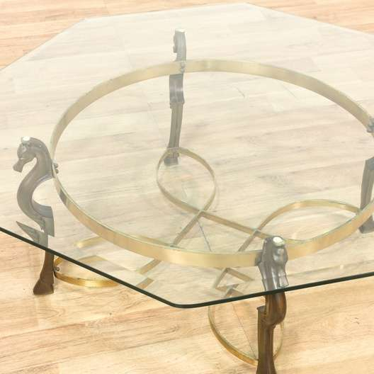 Seahorse Accent Glass Brass Coffee Table Loveseat Vintage - Seahorse coffee table