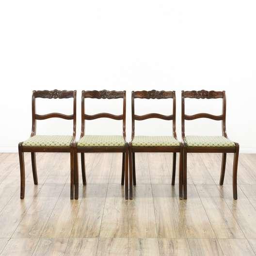 Set Of 4 Fl Tell City Mahogany Dining Chairs