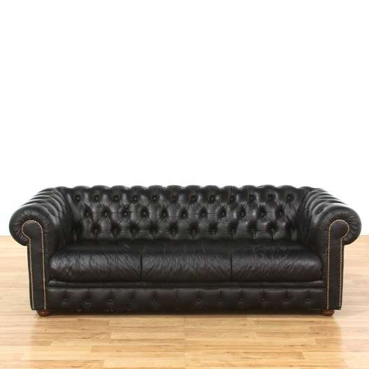 Leather Sofas In Los Angeles: Black Tufted Leather Chesterfield Sofa W/ Nailhead Trim