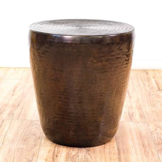 Copper Colored Metal Drum Style Accent End Table 1 Loveseat Vintage Furniture San Go