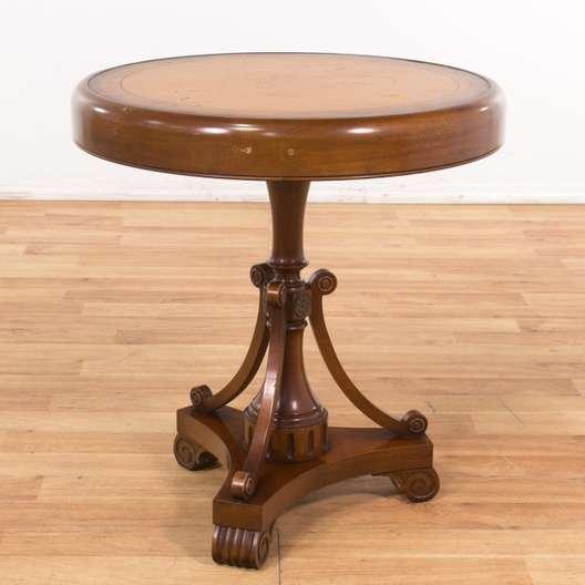 Peachy Round Leather Top End Table Loveseat Vintage Furniture La Inzonedesignstudio Interior Chair Design Inzonedesignstudiocom
