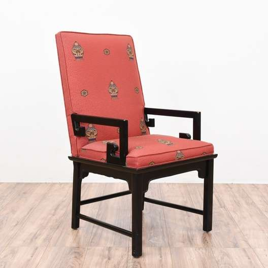 Fine Red Oriental Style Black Lacquered Armchair Loveseat Gmtry Best Dining Table And Chair Ideas Images Gmtryco