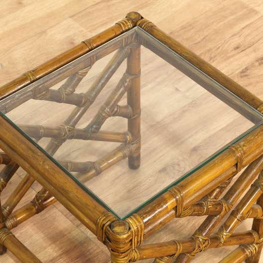 Tropical Bamboo End Table W Glass Top Loveseat Vintage