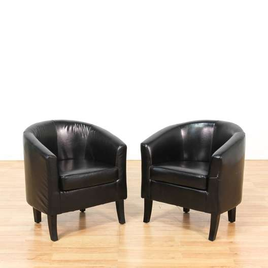 Pair Of Black Mid Century Modern Club Chairs Loveseat Vintage Furniture Los Angeles