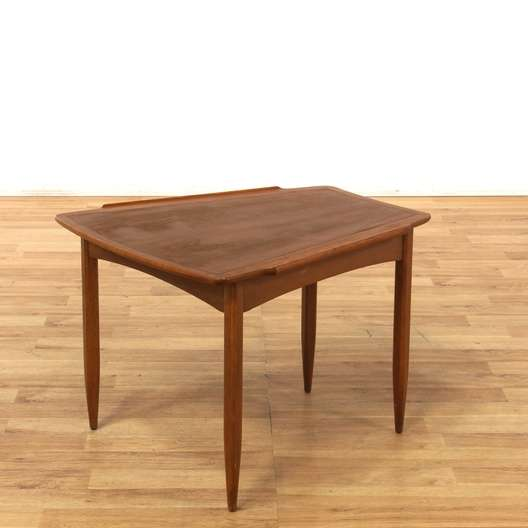 Danish Mid Century Modern Wedge End Table Loveseat Vintage