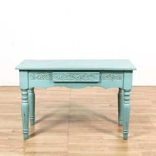 Vintage used shabby chic furniture in san diego los angeles shabby chic teal blue console table desk w drawer publicscrutiny Choice Image