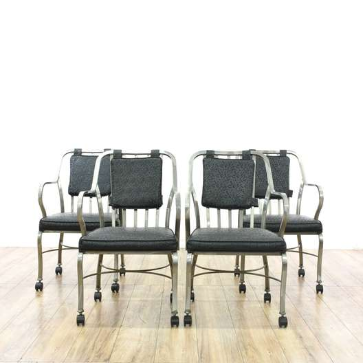 Admirable Set Of 4 Modern Rolling Chrome Dining Chairs Loveseat Cjindustries Chair Design For Home Cjindustriesco