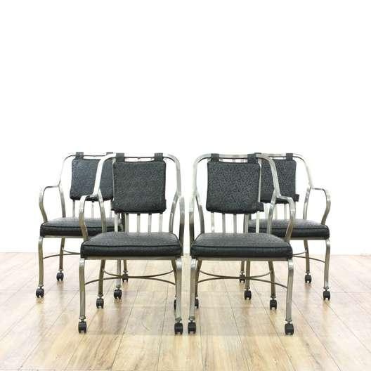 Super Set Of 4 Modern Rolling Chrome Dining Chairs Loveseat Uwap Interior Chair Design Uwaporg