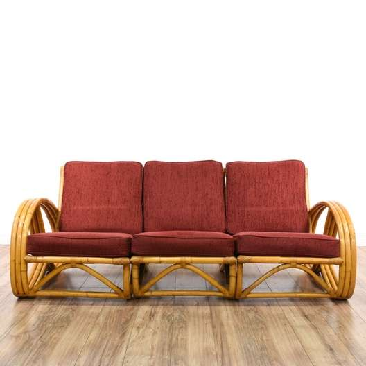 3 Piece Paul Frankl Style Rattan Sofa Loveseat Vintage