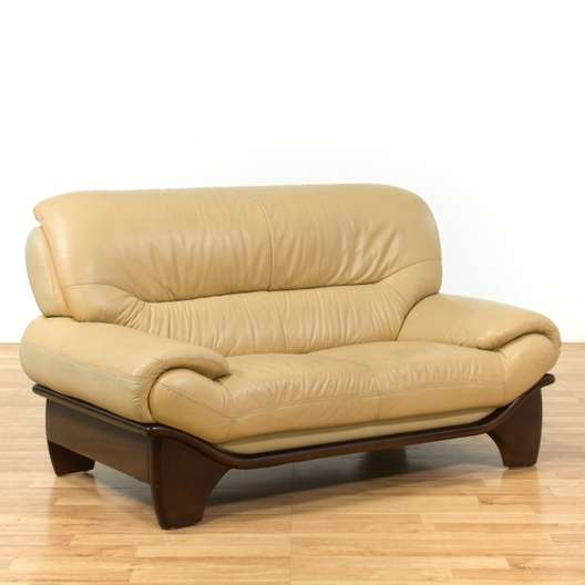 Incredible Oversized Contemporary Beige Leather Loveseat Loveseat Bralicious Painted Fabric Chair Ideas Braliciousco