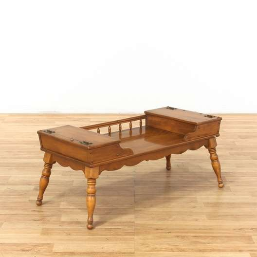 Ethan Allen Traditional Spindle Coffee Table Loveseat Vintage