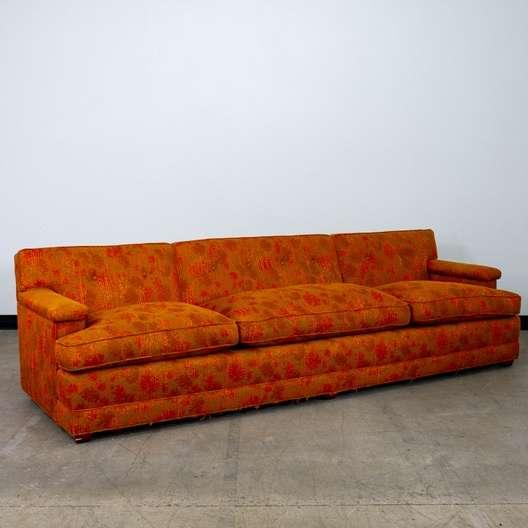 Retro Mid Century Modern Red Orange Sofa Couch Loveseat Vintage Furniture San Go