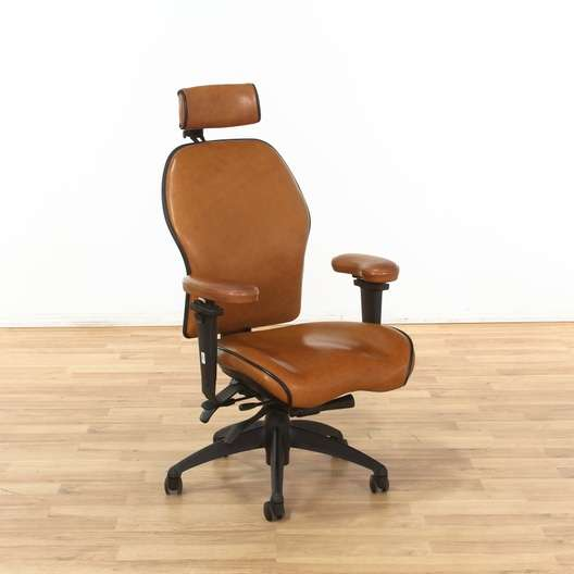 Miraculous Tan Adjustable Leather Rolling Desk Chair Loveseat Vintage Caraccident5 Cool Chair Designs And Ideas Caraccident5Info
