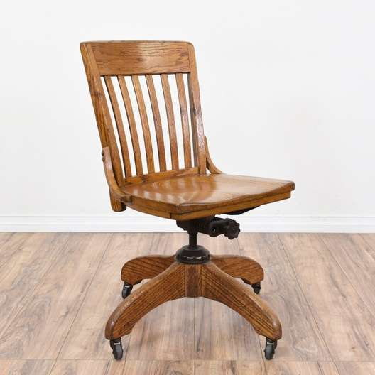 c37e40b14b09 Rolling Vintage Oak Swivel Desk Chair