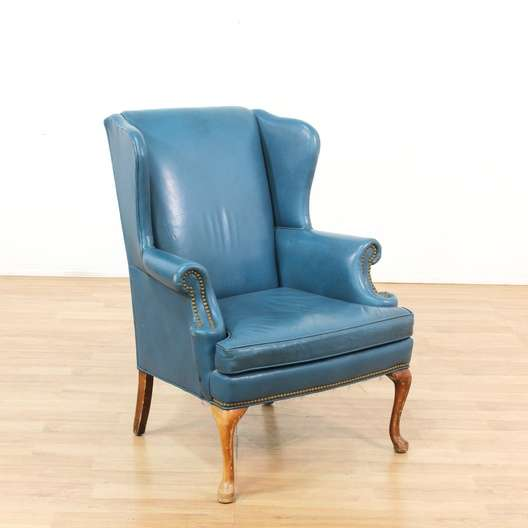 Traditional Blue Studded Leather Wingback Chair Loveseat