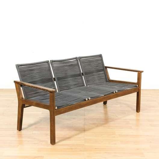 Mid Century Modern Woven Sofa W/ Wood Frame