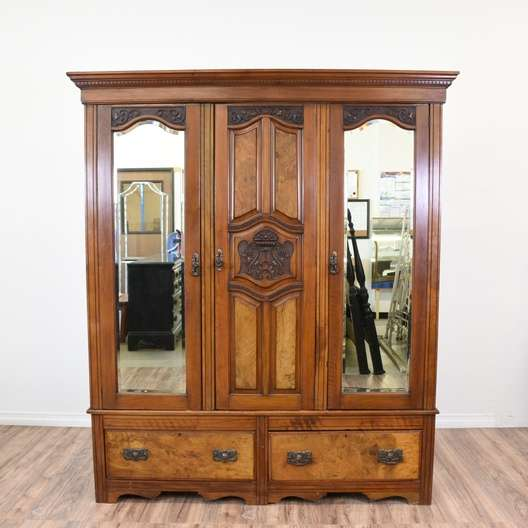 Carved Antique Burl Wood Mirrored Wardrobe Armoire