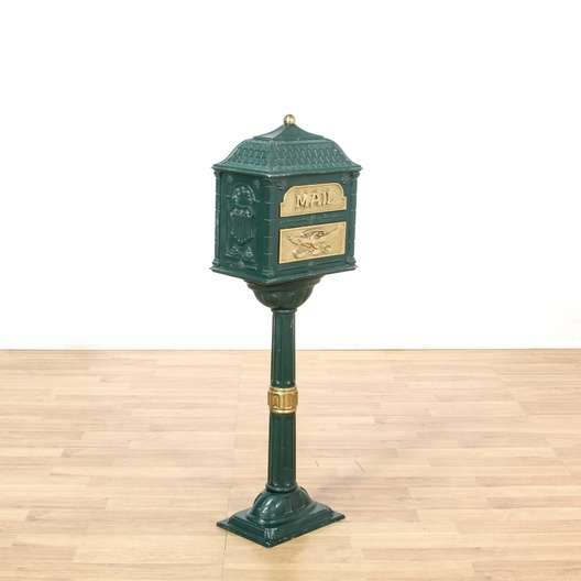 American Furniture Warehouse Mail: Green & Brass Metal Standing Mailbox