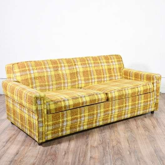 retro mid century modern plaid sleeper sofa loveseat vintage furniture san diego. Black Bedroom Furniture Sets. Home Design Ideas