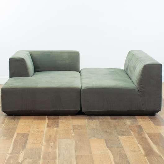 Awe Inspiring West Elm Green Velour Sectional Sofa Loveseat Com San Diego Machost Co Dining Chair Design Ideas Machostcouk