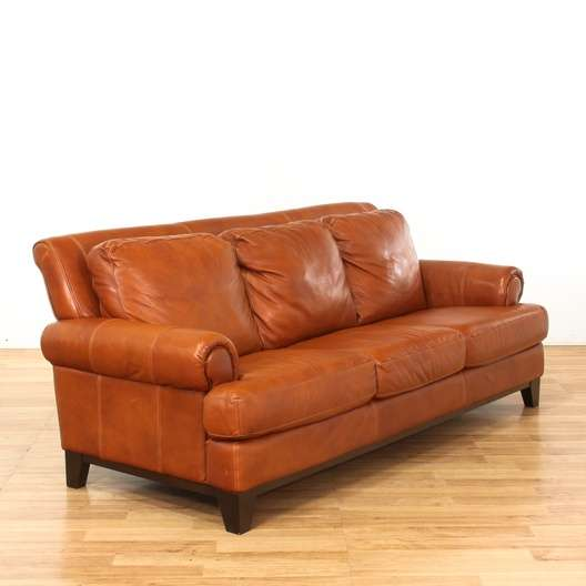 Tan Brown Oversized Contemporary Leather Sofa | Loveseat Vintage ...