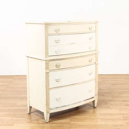 1920 S Shabby Chic Painted White Tall Dresser