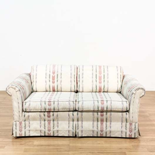 Striped Upholstered Loveseat 115 71 Heart