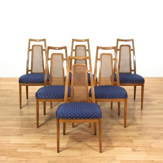 6 Drexel Mid Century Modern Cane Back Dining Chairs