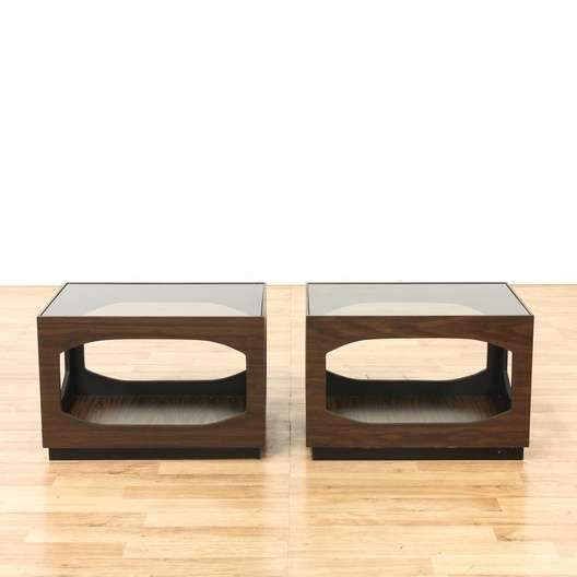 Excellent Pair Of Mid Century Modern Glass Top End Tables Loveseat Download Free Architecture Designs Grimeyleaguecom