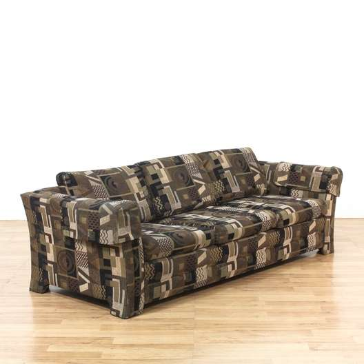 Geometric Patterned Sleeper Sofa Couch Loveseat Vintage Furniture