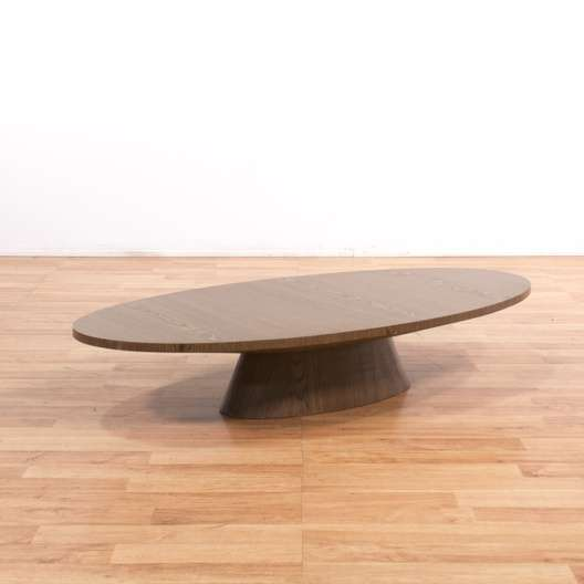 Oval Pedestal Coffee Table: Modern Low Oval Coffee Table W/ Pedestal Base