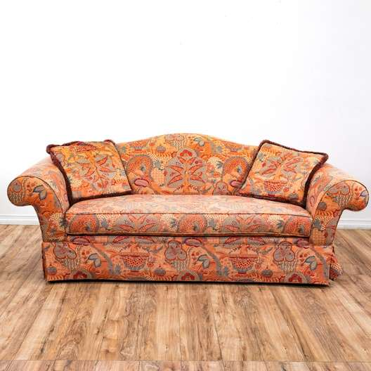 Surprising Peach Patterned Bohemian Sofa Couch Loveseat Vintage Pabps2019 Chair Design Images Pabps2019Com