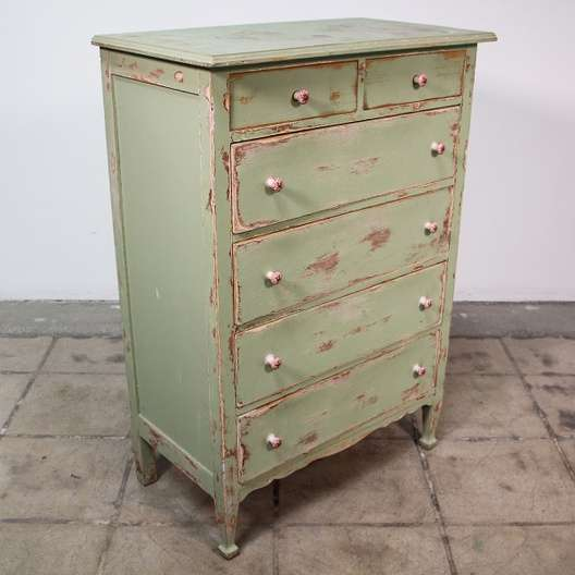 Sage Green Shabby Chic Highboy Dresser