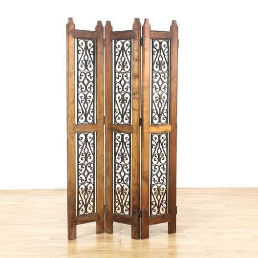 Spanish Revival Wrought Iron Room Divider Panel 3 Loveseat Vintage Furniture Los Angeles