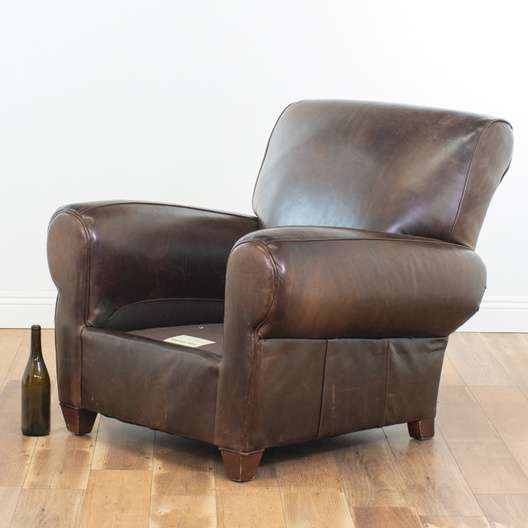 Swell Mitchell Gold By Pottery Barn Leather Chair Ottoman Caraccident5 Cool Chair Designs And Ideas Caraccident5Info