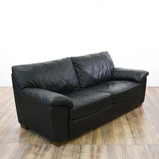 Black Oversized Leather Sofa Couch   Loveseat Vintage Furniture San ...