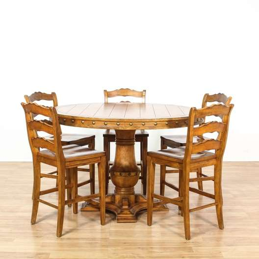Tall Rustic Maple Round Dining Set W 5 Chairs Loveseat