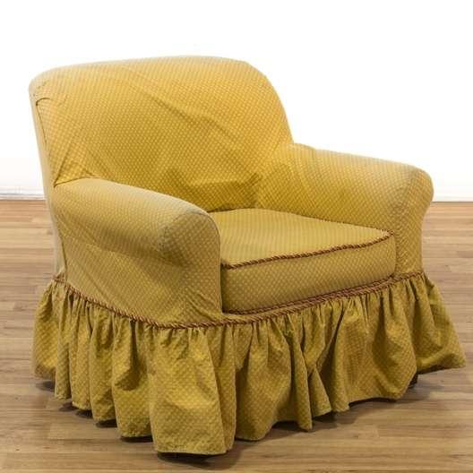 Oversized Armchair W/ Skirted Slipcover | Loveseat Vintage ...