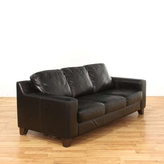 Contemporary Black 3 Seater Leather Sofa | Loveseat Vintage ...