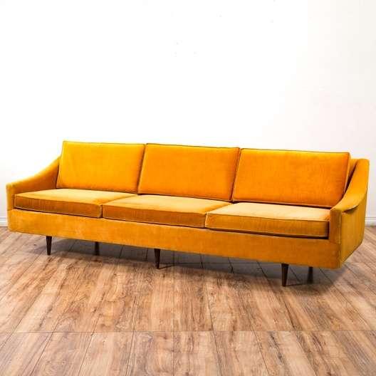 "Orange Mid Century Sofa: ""Hayes Mfg Co"" Mid Century Modern Orange Velvet Sofa"