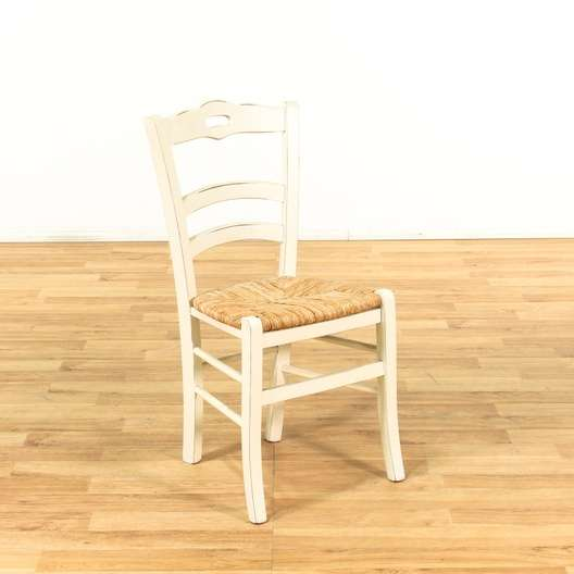 White Frame Rush Dining Chair