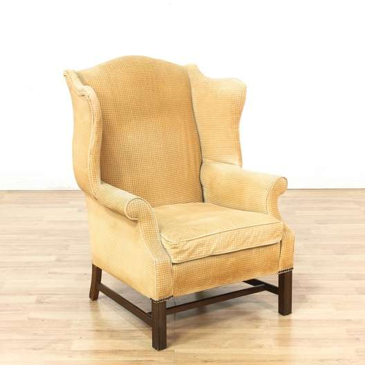 Yellow Wingback Armchair w/ Nailhead & Wood Trim ...