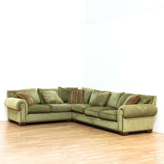 Sage Green 2 Part Sectional Sofa | Loveseat Vintage Furniture Los Angeles