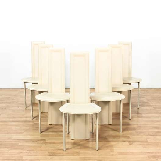 Set Of 7 Cream Italian Leather Dining Chairs